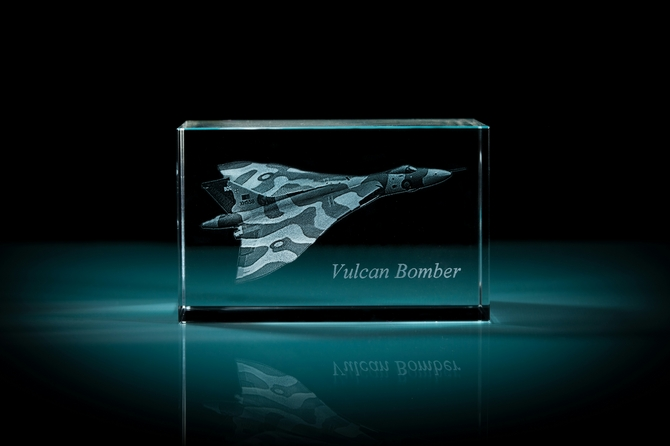 Laser Etched Avro Vulcan Bomber Crystal Cube