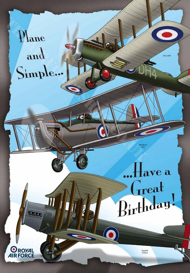 Official Raf Plane And Simple Birthday Card