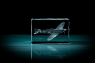 Spitfire 3D Laser Etched Crystal Cube - Medium
