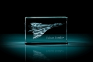 Vulcan Bomber 3D Laser Etched Crystal Cube - XXXL