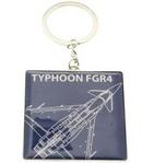 RAF Silver Plated Typhoon Blue Print Keyring