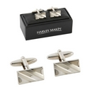 Rhodium Two Tone Silver Coloured Cufflinks